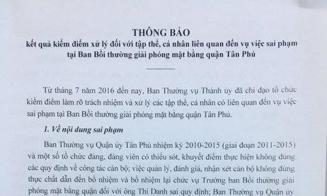 TPHCM: Một loạt nguyên lãnh đạo quận Tân Phú bị kỷ luật