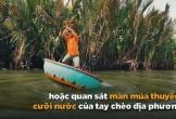 Người dân Hội An trổ tài lắc thuyền thúng trước du khách