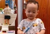 Con trai Ly 'Kute' tự lấy bàn chải của mẹ đánh răng