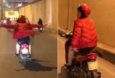 Bật cười cảnh bà cô đi xe máy đóng