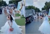 Bắt hoa cưới ngoài đường, cô gái suýt bị xe container đâm