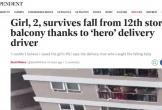 Báo chí quốc tế khen ngợi anh Nguyễn Ngọc Mạnh cứu em bé rơi từ chung cư