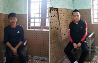 Đối tượng Trần Đình Quảng và Phạm Văn Hải tại cơ quan công an